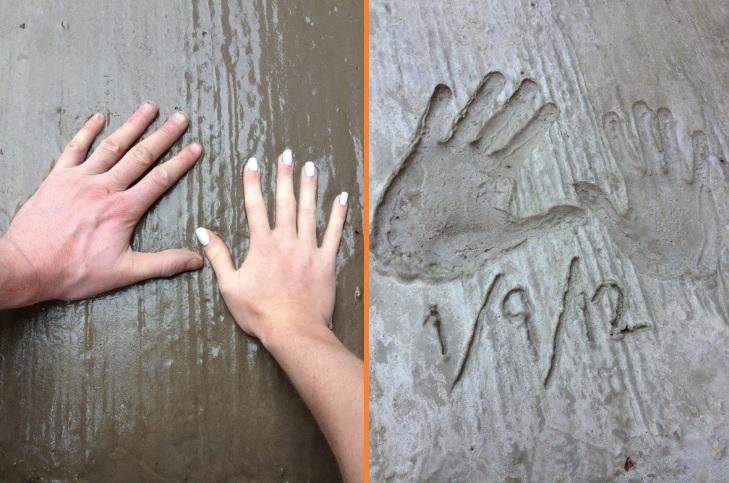 DIY driveway handprint