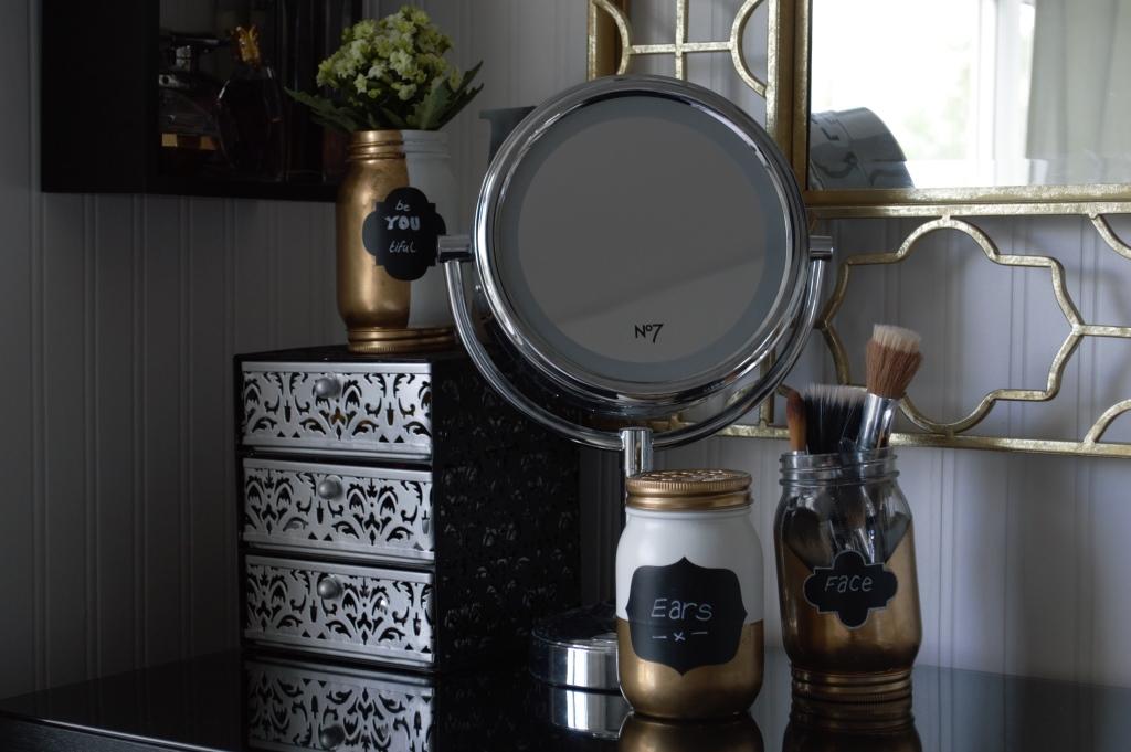DIY Gold & White Dip-Dye Jars
