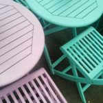 Stumbled across these adorable garden tables in lilac amp teal!hellip