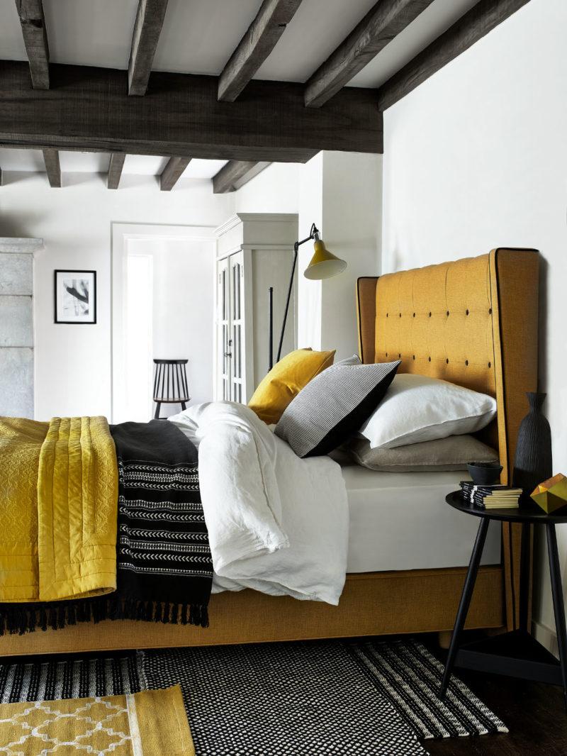 Mustard yellow bed